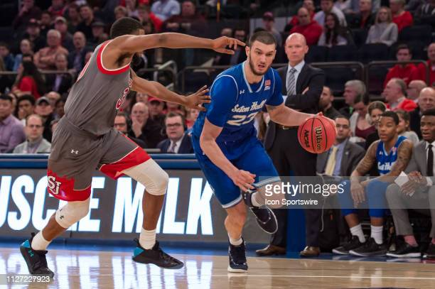 Seton Hall Pirates forward Sandro Mamukelashvili during the college basketball game between the Seton Hall Pirates and the St John's Red Storm on...