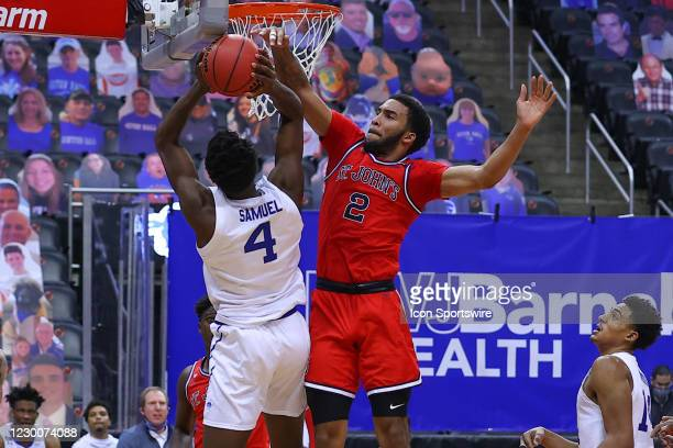 Seton Hall Pirates forward Tyrese Samuel goes up against St. John's Red Storm guard Julian Champagnie during the second half of the college...