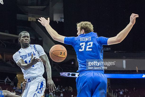 Seton Hall Pirates guard Ismael Sanogo passes the ball during the second half of the NCAA Big East Conference basketball game between Creighton and...