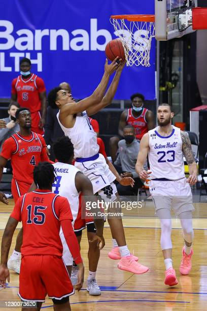 Seton Hall Pirates guard Jared Rhoden drives to the basket during the first half of the college basketball game between the Seton Hall Pirates and...