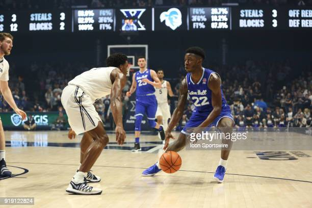 Seton Hall Pirates guard Myles Cale controls the ball during the game against the Seton Hall Pirates and the Xavier Musketeers on February 14th 2018...