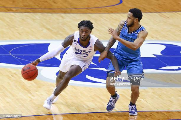 Seton Hall Pirates guard Myles Cale drives to the basket during the college basketball game between the Seton Hall Pirates and the Georgetown Hoyas...