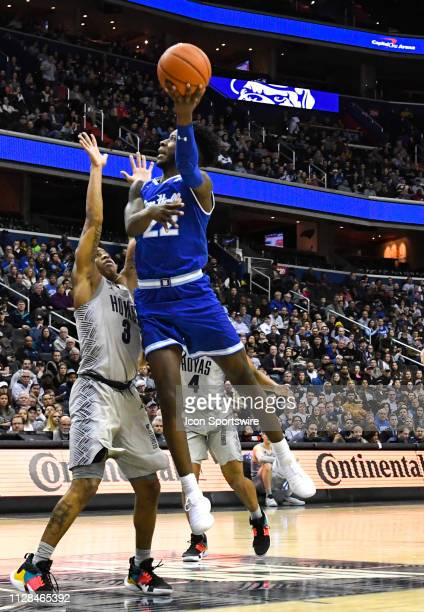 Seton Hall Pirates guard Myles Cale goes to the hoop in the first half against Georgetown Hoyas guard James Akinjo on March 2 at the Capital One...