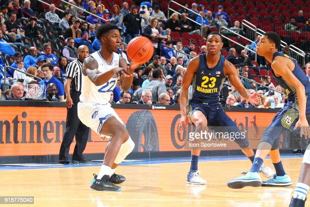 Seton Hall Pirates guard Myles Cale passes during the first half of the game between the Marquette Golden Eagles and the Seton Hall Pirateson...