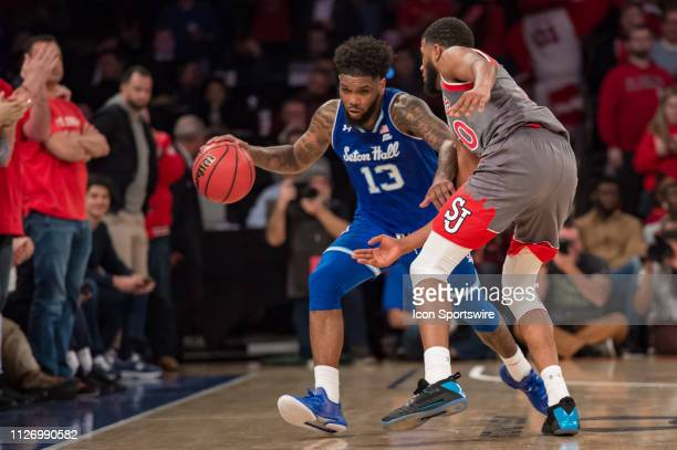 Seton Hall Pirates guard Myles Powell brings the ball up court during the second half of the college basketball game between the Seton Hall Pirates...