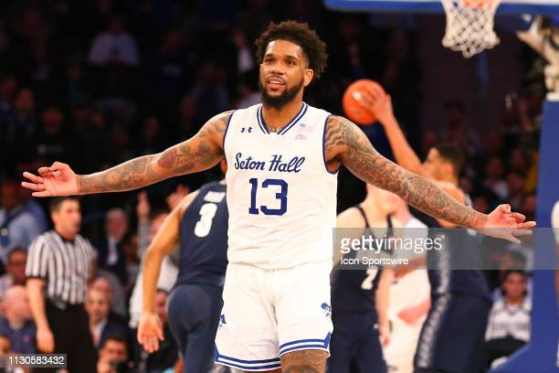 Seton Hall Pirates guard Myles Powell celebrates after making a 3 point basket during the first half of the Big East Tournament quarterfinal game...