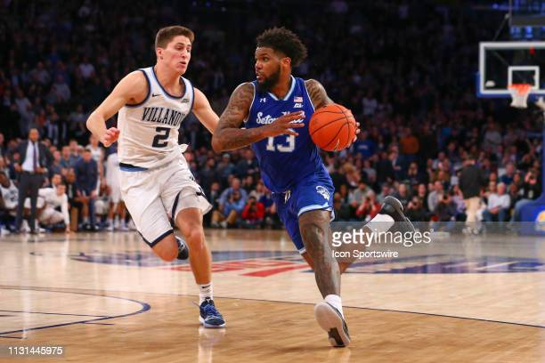 Seton Hall Pirates guard Myles Powell controls the ball during the Big East Conference Championship college basketball game between the Villanova...