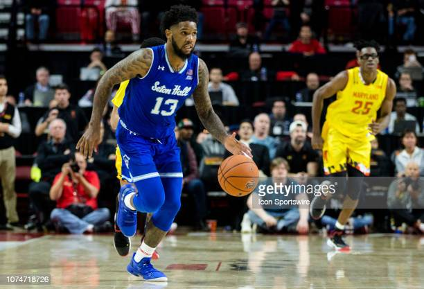 Seton Hall Pirates guard Myles Powell dribbles forward during a men's college basketball game between the University of Maryland and Seton Hall...
