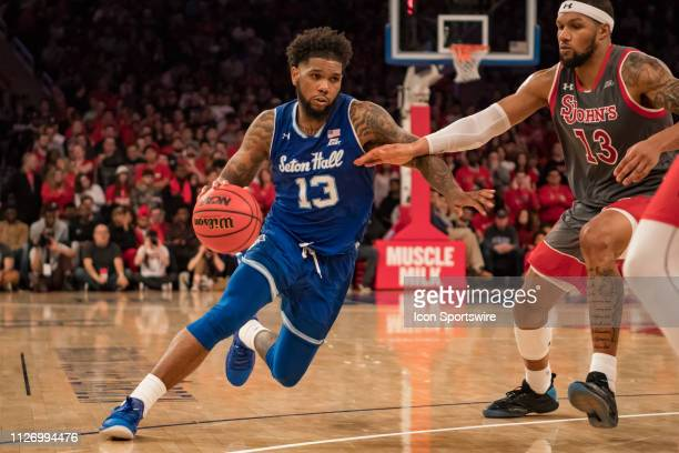 Seton Hall Pirates guard Myles Powell drives to the basket during the college basketball game between the Seton Hall Pirates and the St John's Red...
