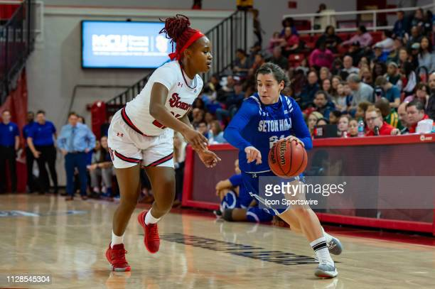 Seton Hall Pirates guard Nicole Jimenez drives to the basket during the first half of the women's college basketball game between the Seton Hall...