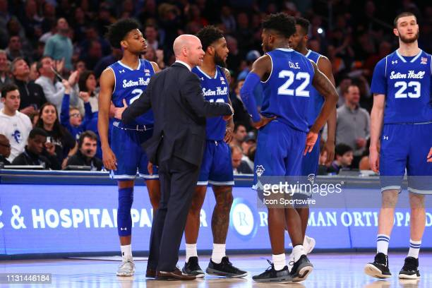 Seton Hall Pirates head coach Kevin Willard talks with his players during the Big East Conference Championship college basketball game between the...