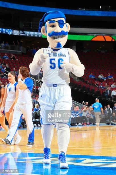 Seton Hall Pirates Mascot during the College Basketball game between the Seton Hall Pirates and the Monmouth Hawks on November 12 2017 at the...
