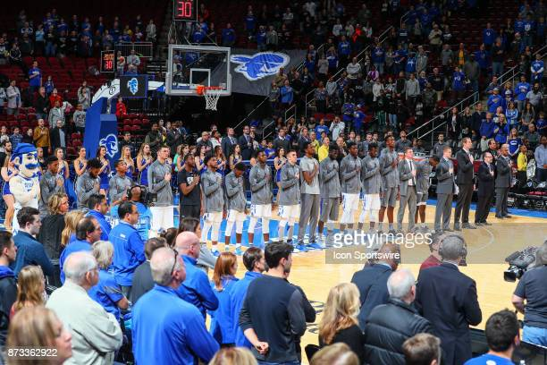 Seton Hall Pirates stand during the National Anthem prior to the College Basketball game between the Seton Hall Pirates and the Monmouth Hawks on...