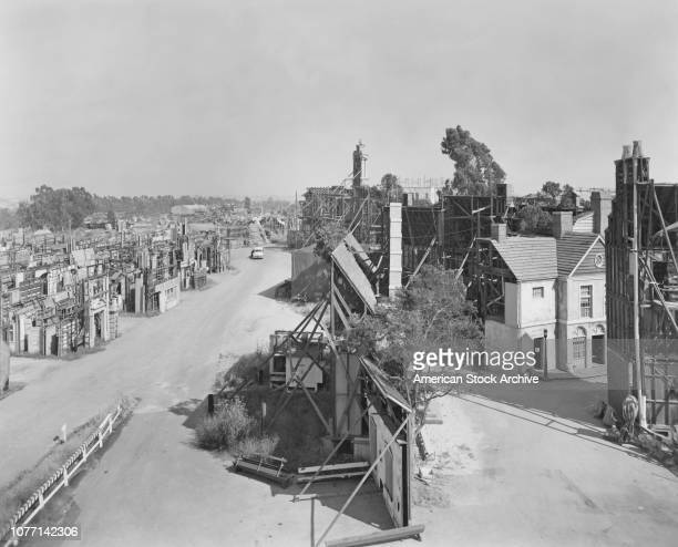 Sets going up on the backlot of the 20th Century Fox studios circa 1935