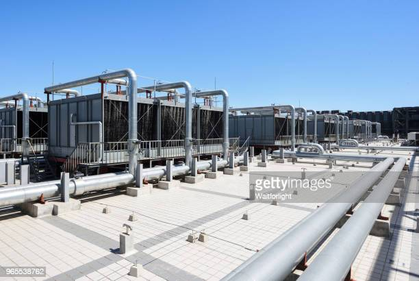 sets of cooling towers for datacenter - cooling rack stock photos and pictures