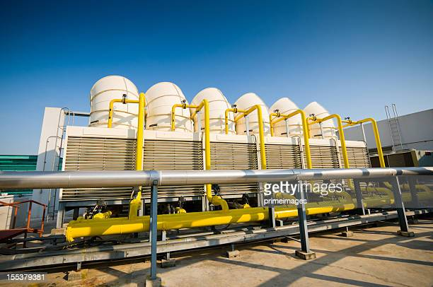 sets of cooling towers in conditioning systems - cooling tower stock pictures, royalty-free photos & images