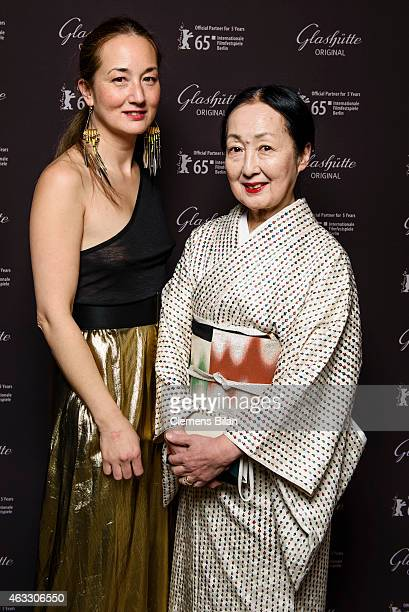 Setsuko Klossowska de Rola and her daughter Harumi Klossowska de Rola attend the Warm-Up at the Glashuette Original lounge during the 65th Berlinale...