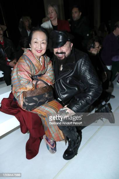 Setsuko Klossowska de Rola and Peter Marino attend the Haider Ackermann show as part of the Paris Fashion Week Womenswear Fall/Winter 2020/2021 on...