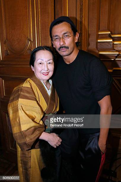 Setsuko Klossowska de Rola and Stylist Haider Ackermann pose Backstage after the Haider Ackermann Menswear Fall/Winter 20162017 show as part of Paris...