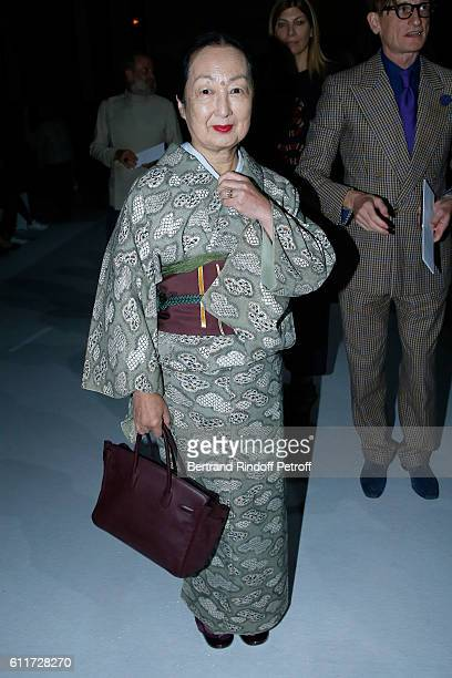Setsuko Klossowska de Rola attends the Haider Ackermann show as part of the Paris Fashion Week Womenswear Spring/Summer 2017 on October 1 2016 in...