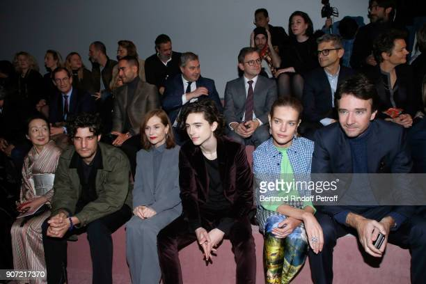 Setsuko Klossowska de Rola Louis Garrel Isabelle Huppert Timothee Chalamet Natalia Vodianova and General manager of Berluti Antoine Arnault attend...