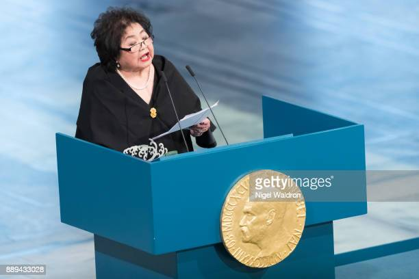 Setsuko Thurlow a survivor of the nuclear bomb dropped in Hiroshima Japan and campaigner for ICAN gives her speech during the Nobel Peace Prize...