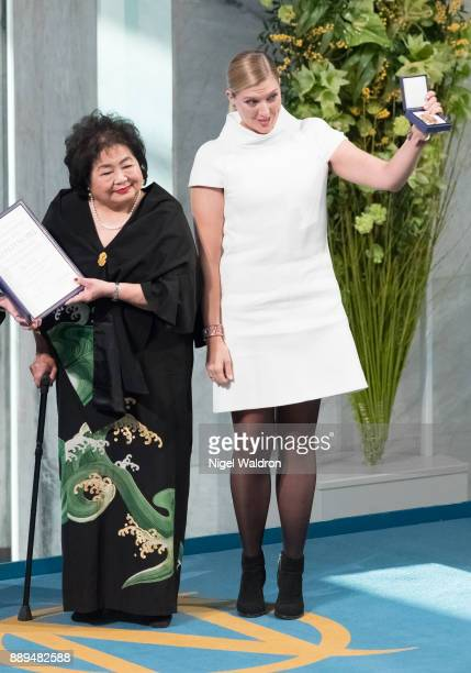 Setsuko Thurlow and Beatrice Fihn the Executive Director International Campaign to Abolish receive the Nobel Peace Prize 2017 award during the Nobel...