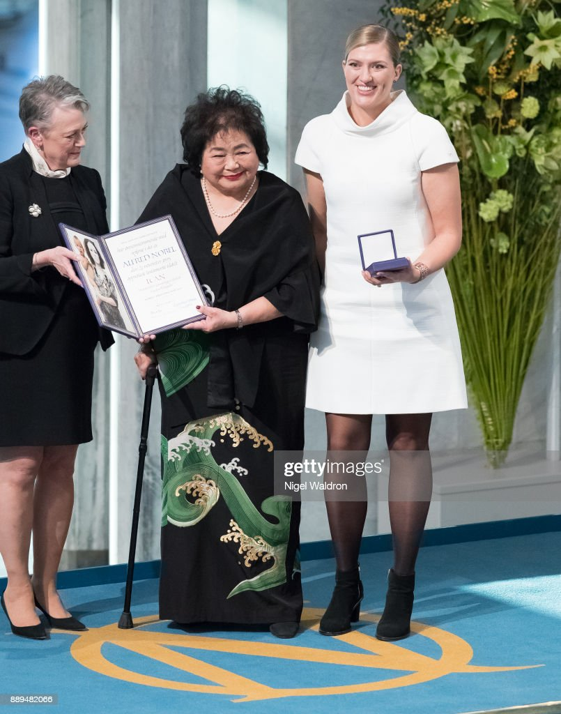 Setsuko Thurlow, Beatrice Fihn the Executive Director International Campaign to Abolish Nuclear Weapons (ICAN), receive the Nobel Peace Prize 2017 award from Berit Reiss-Andersen Nobel Head Committee of Norway during the Nobel Peace Prize ceremony at the Oslo City Hall on December 10, 2017 in Oslo, Norway.