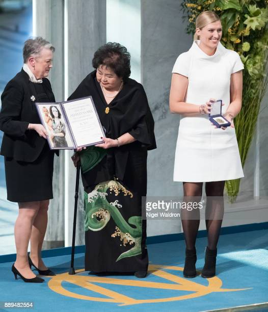 Setsuko Thurlow Beatrice Fihn the Executive Director International Campaign to Abolish Nuclear Weapons receive the Nobel Peace Prize 2017 award from...