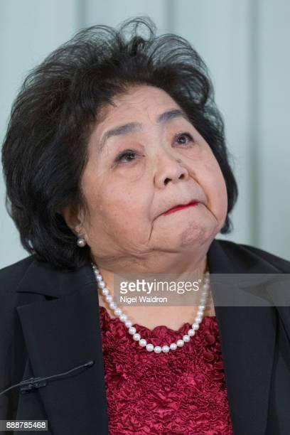 Setsuko Thurlow, survivor of the atomic bombing of Hiroshima and current ICAN campaigner, answers questions during a press conference at the...