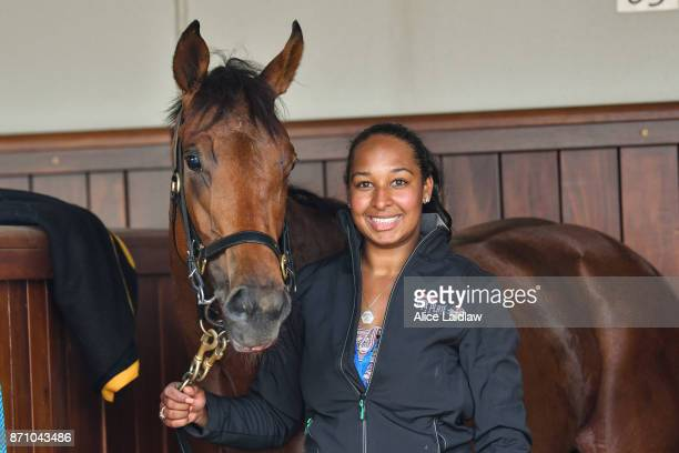 Setsuna with strapper Sophie Johnson after winning the Emirates 100th A380 Stakes at Flemington Racecourse on November 07 2017 in Flemington Australia