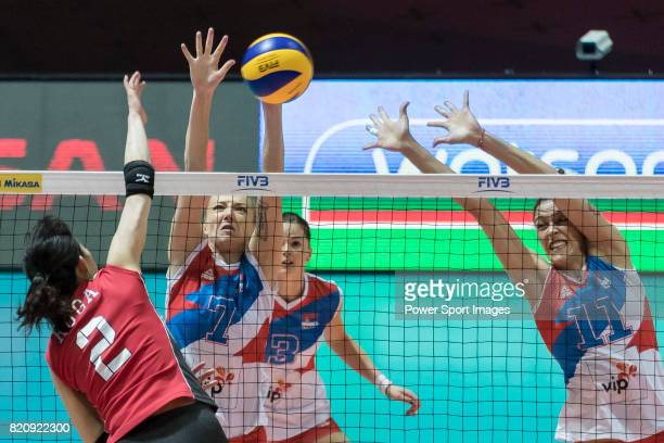 Setter Ana Antonijevic of Serbia and Middle blocker Stefana Veljkovic of Serbia blocks during the FIVB Volleyball World Grand Prix Hong Kong 2017...