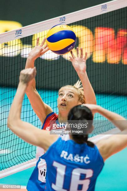 Setter Ana Antonijevic of Serbia sets during the FIVB Volleyball World Grand Prix match between Serbia vs Russia on July 21 2017 in Hong Kong Hong...