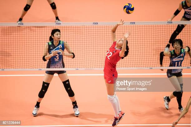 Setter Tatiana Romanova of Russia pass during the FIVB Volleyball World Grand Prix match between Japan vs Russia on July 23 2017 in Hong Kong Hong...