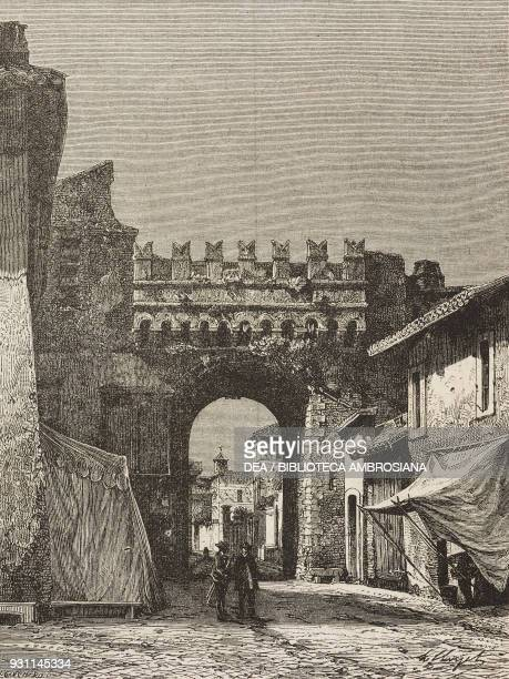Settimiana gate in Trastevere Rome Italy drawing by Hubert Clerget from Rome 18641868 by Francesco Wey from Il Giro del mondo Journal of geography...