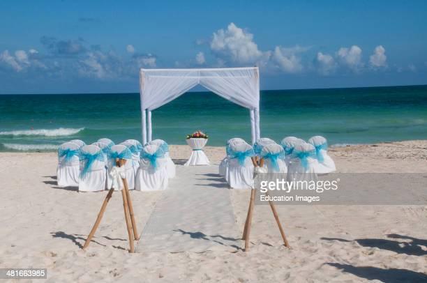 Setting for beach wedding Cancun Mexico