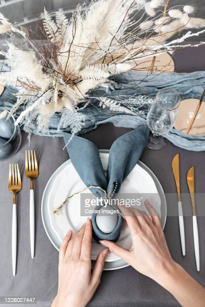 setting happy christian easter table - easter decoration ストックフォトと画像