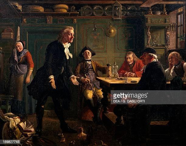 Setting of Act III Scene III from Erasmus Montanus by Wilhelm Marstrand painted in 1865 Aarhus Kunstmuseum