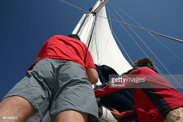 setting sail - catamaran sailing stock photos and pictures