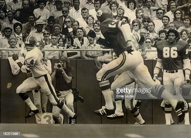 OCT 5 1973 OCT 8 1973 DEC 12 1975 Setting Sights For A Foot Race Floyd Little of the Denver Broncos looks back at Emmitt Thomas of Kansas City on the...