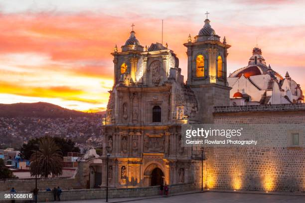 setting sun, basilica of our lady of solitude, mexico - oaxaca stock pictures, royalty-free photos & images