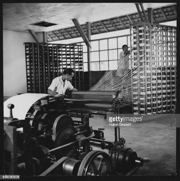 Setting the Warp of a Loom in a Cotton Mill in Indonesia ca 1950