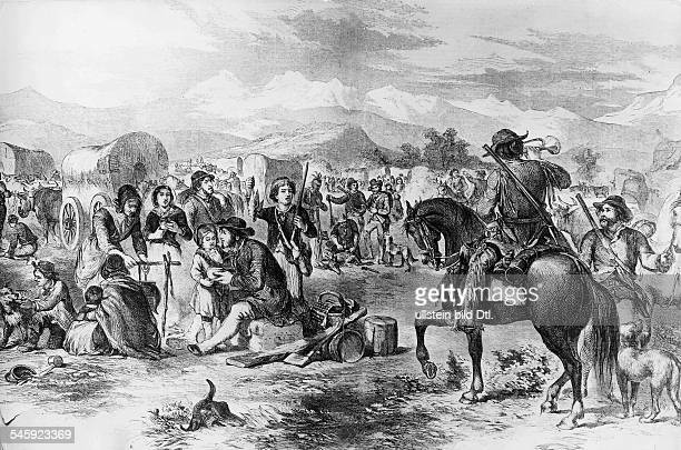 USA settlement history A trek of settlers on their trail to the west about 1850 Wood engraving 19th cent