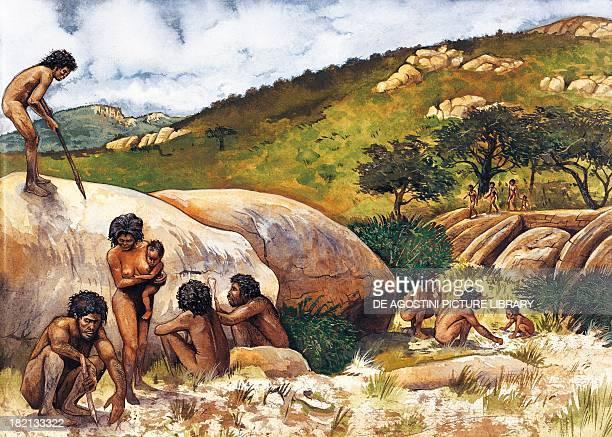 Settlement of hominids in Ethiopia Prehistory illustration