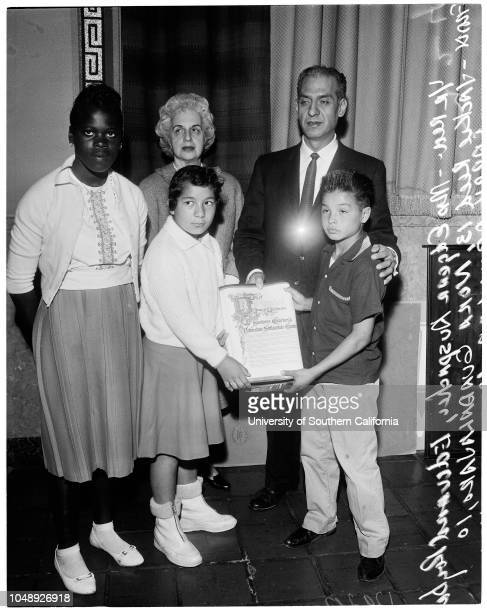 Settlements 15 March 1961 Mrs Edgar AuspacherEdward R Roybal Jackie Reed 13 yearsNora Guadalajaro 10 yearsLarry Aguilar 10 yearsCaption slip reads...