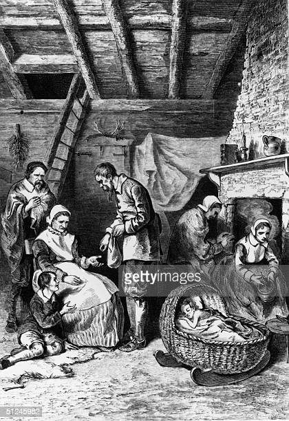 A settler doles out part of his meagre supply of corn in the colony of Jamestown in Virginia 1609 When settlers failed to plant crops immediatly...