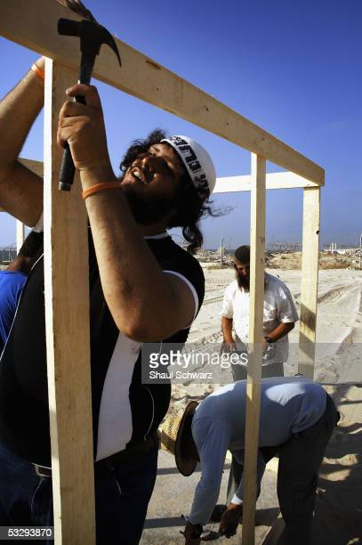 Settlers build a new tent city to host nonresidents trying to come in to Gush Katif to show support to the local settlers on July 27 2005 in Shirat...