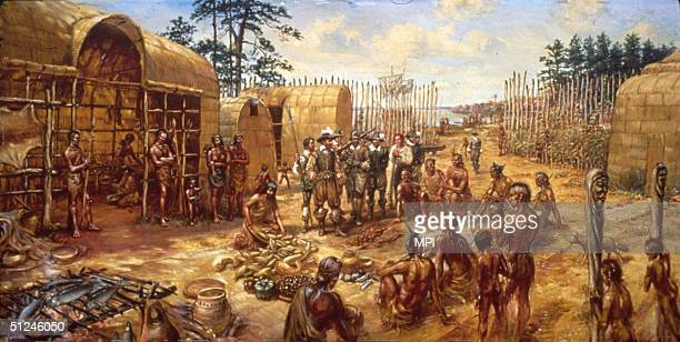 1609 Settlers in Jamestown the first permanent English settlement in America trading with Indians in the fort