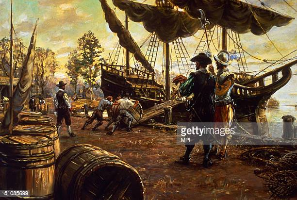 Settlers roll barrels of tobacco up a ramp and onto a ship in preparation for export Jamestown Virginia 1615