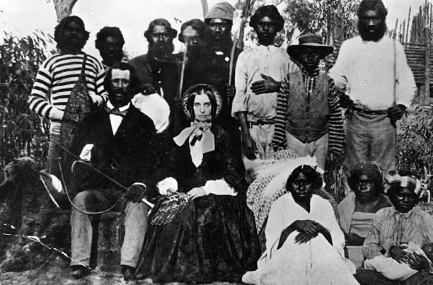 Settlers surrounded by Aborigines. This is believed...